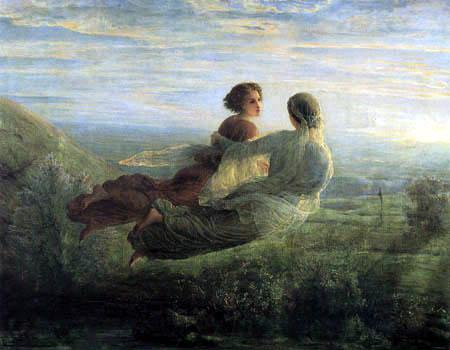 Seele und Heilen - Seelenflug, zwei Frauen fliegen über eine Landschaft