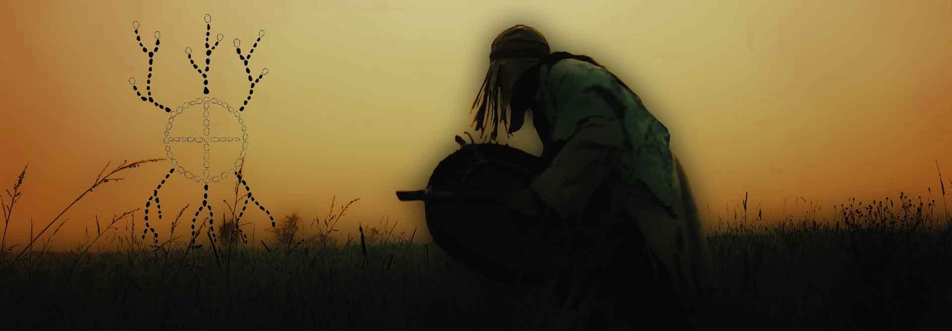 Bei Schamanismus.org alles über Schamanismus und Schamanen erfahren. Tanzender Schamane in der Steppe.