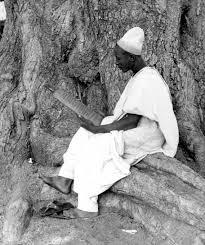 Mann sitzt mit Schrifttafel an einem Baum