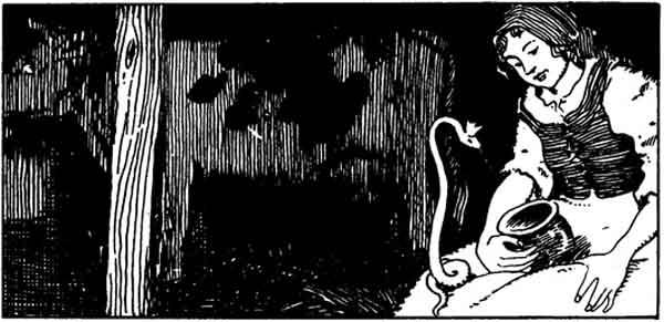 Schamanismus Startseite - Zeichnung einer Frau im Stall, mit einer Schlange auf dem Schoß.