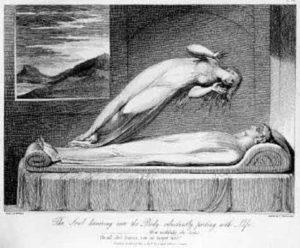 Seele und Heilen 2018 - SW-Zeichnung, Seele verläßt den Körper iner schlafenden