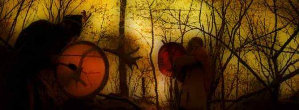Blog - zwei Schamanen im Wald beim trommeln