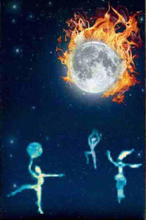 Bild mit brennendem Mond und tanzenden Geistern