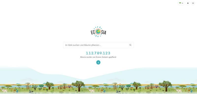 Bildschirmfoto von Ecosia, eine alternative Suchmaschine