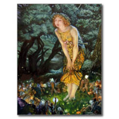 Schamanismus und Naturgeister - Mädchen steht im Wald, umring von kleinen Naturgeistern